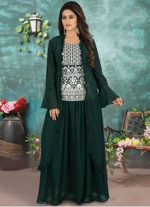Embroidered Green Georgette Designer Suit