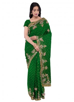Embroidered Green Georgette Saree