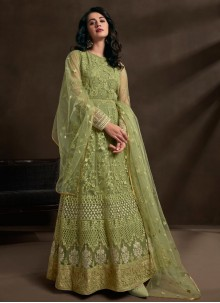 Embroidered Green Net Gown