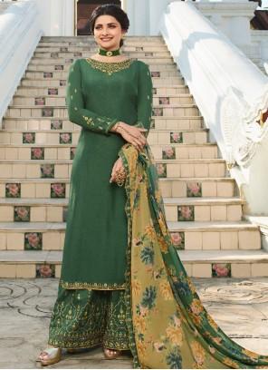 Embroidered Green Prachi Desai Designer Palazzo Suit