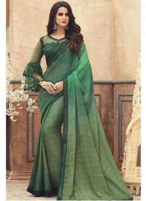Embroidered Green Pure Chiffon Saree