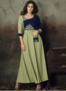 Embroidered Green Rayon Party Wear Kurti