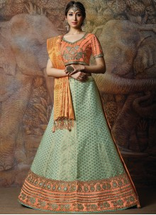 Embroidered Green Silk Designer Lehenga Choli