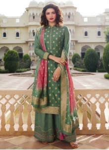 Embroidered Green Silk Designer Palazzo Suit