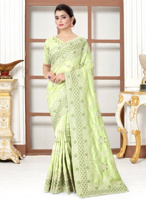 Embroidered Green Silk Designer Traditional Saree