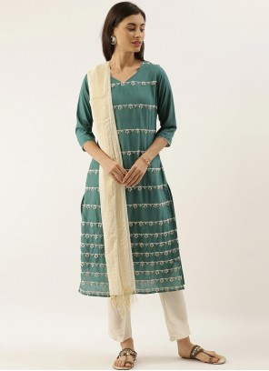 Embroidered Green Silk Trendy Salwar Suit