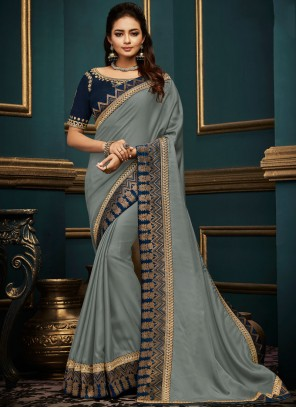 Embroidered Grey Art Silk Traditional Saree