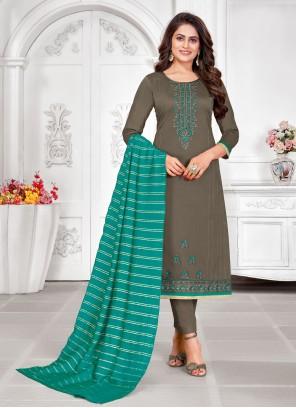Embroidered Grey Churidar Salwar Suit