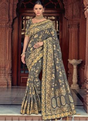 Embroidered Grey Classic Designer Saree