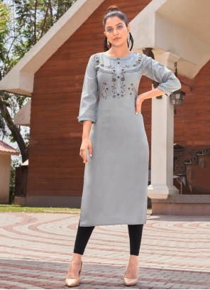 Embroidered Grey Cotton Party Wear Kurti