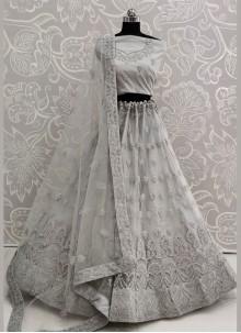 Embroidered Grey Designer Lehenga Choli