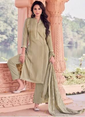 Embroidered Grey Designer Straight Salwar Suit