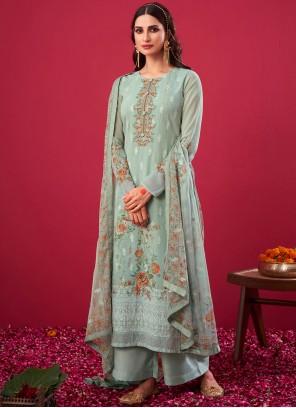 Embroidered Grey Faux Georgette Designer Pakistani Salwar Suit