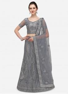 Embroidered Grey Net A Line Lehenga Choli