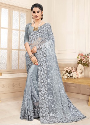 Embroidered Grey Net Traditional Saree