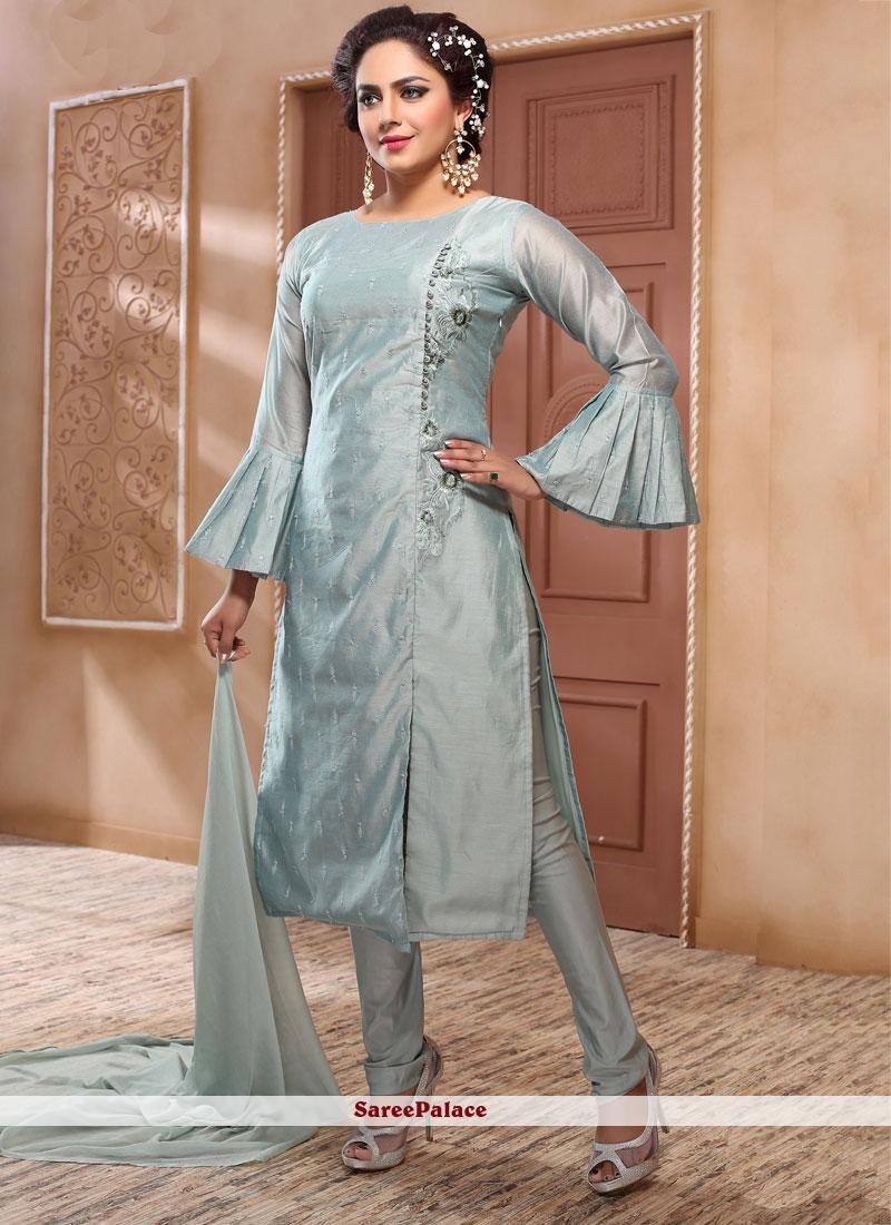 Embroidered Grey Salwar Suit