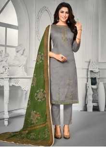 Embroidered Grey Satin Trendy Straight Salwar Suit