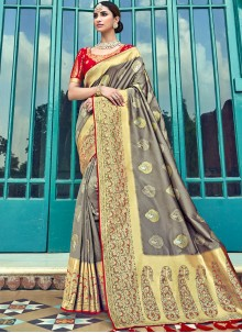 Embroidered Grey Silk Traditional Designer Saree
