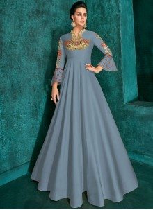 Embroidered Grey Trendy Gown