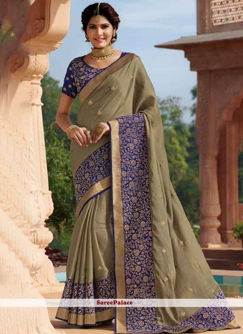 Embroidered Grey Tussar Silk Contemporary Saree