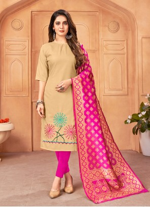 Embroidered Handloom Cotton Pant Style Suit in Beige