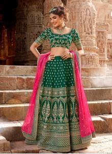 Sea Green Embroidered Handloom silk Designer Lehenga Choli