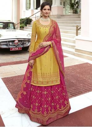 Embroidered Hot Pink and Mustard Designer Long Lehenga Choli