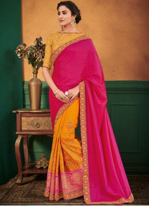 1bee842af Embroidered Hot Pink and Yellow Art Silk Designer Half N Half Saree