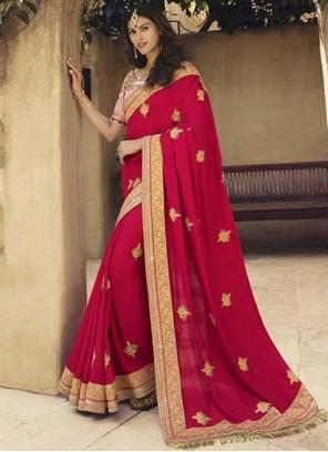 Embroidered Hot Pink Art Silk Classic Designer Saree
