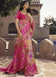 Embroidered Hot Pink Art Silk Traditional Saree