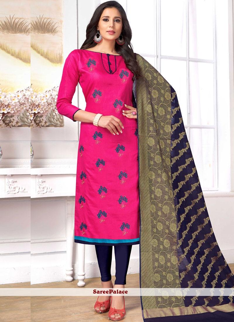 Embroidered Hot Pink Churidar Designer Suit