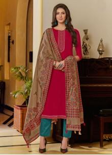 Embroidered Hot Pink Designer Pakistani Suit