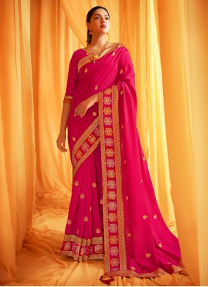 Embroidered Hot Pink Designer Traditional Saree