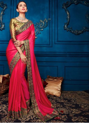 Embroidered Hot Pink Georgette Satin Classic Designer Saree