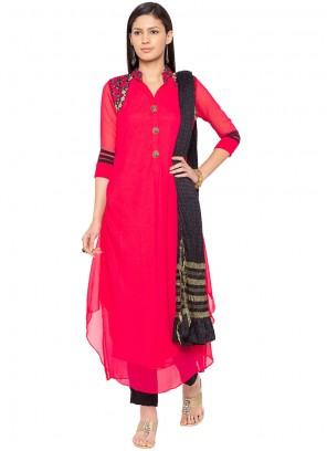 Embroidered Hot Pink Readymade Suit