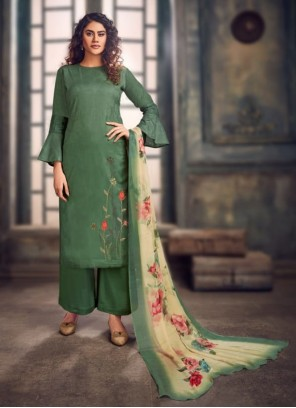 Embroidered Jacquard Green Trendy Salwar Kameez
