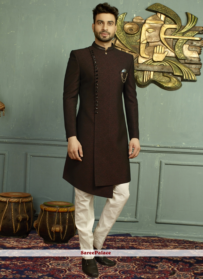 Embroidered Jacquard Indo Western in Black and Wine