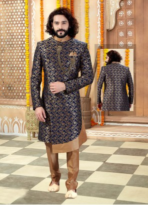 Embroidered Jacquard Indo Western in Navy Blue
