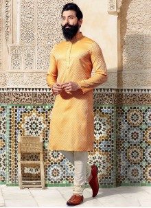 Embroidered Jacquard Kurta Pyjama in Yellow