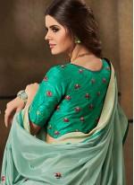 Embroidered Jacquard Saree in Sea Green