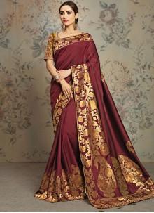 Embroidered Jacquard Silk Classic Saree