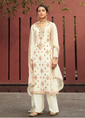 Embroidered Jacquard Silk Designer Palazzo Salwar Suit in Off White