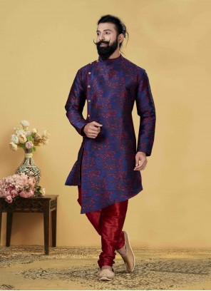 Embroidered Jacquard Silk Indo Western in Blue