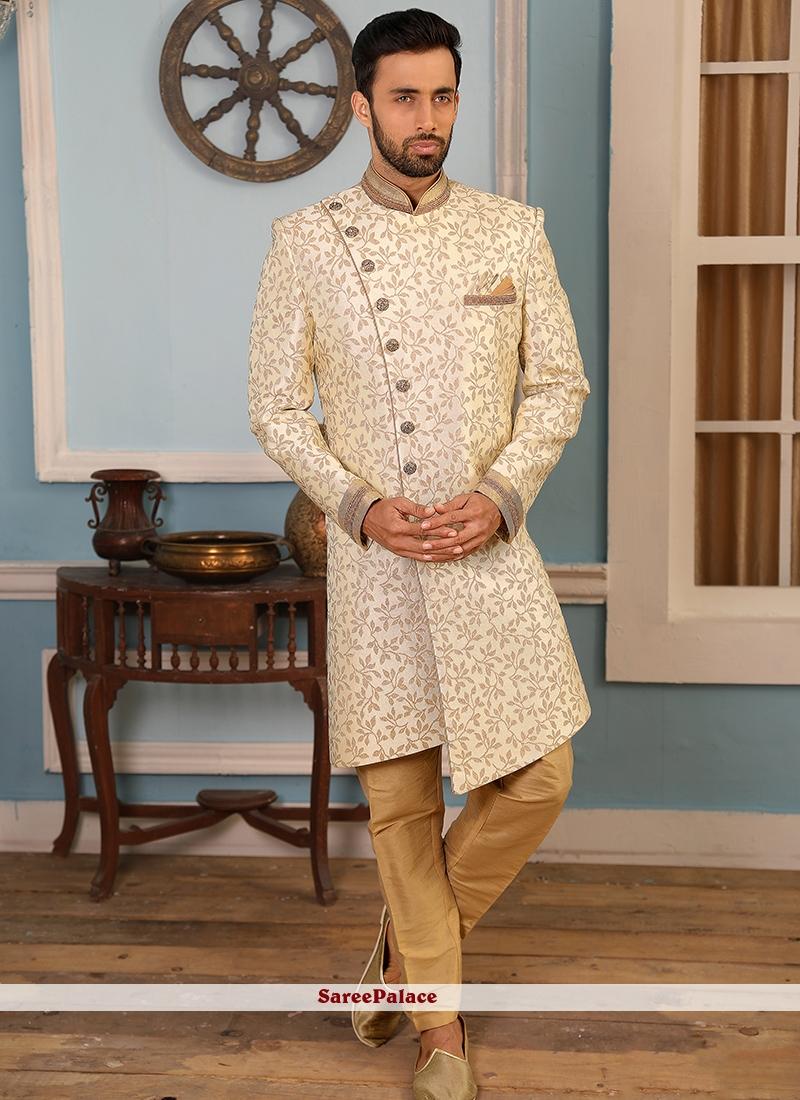 Embroidered Jacquard Silk Indo Western in Cream