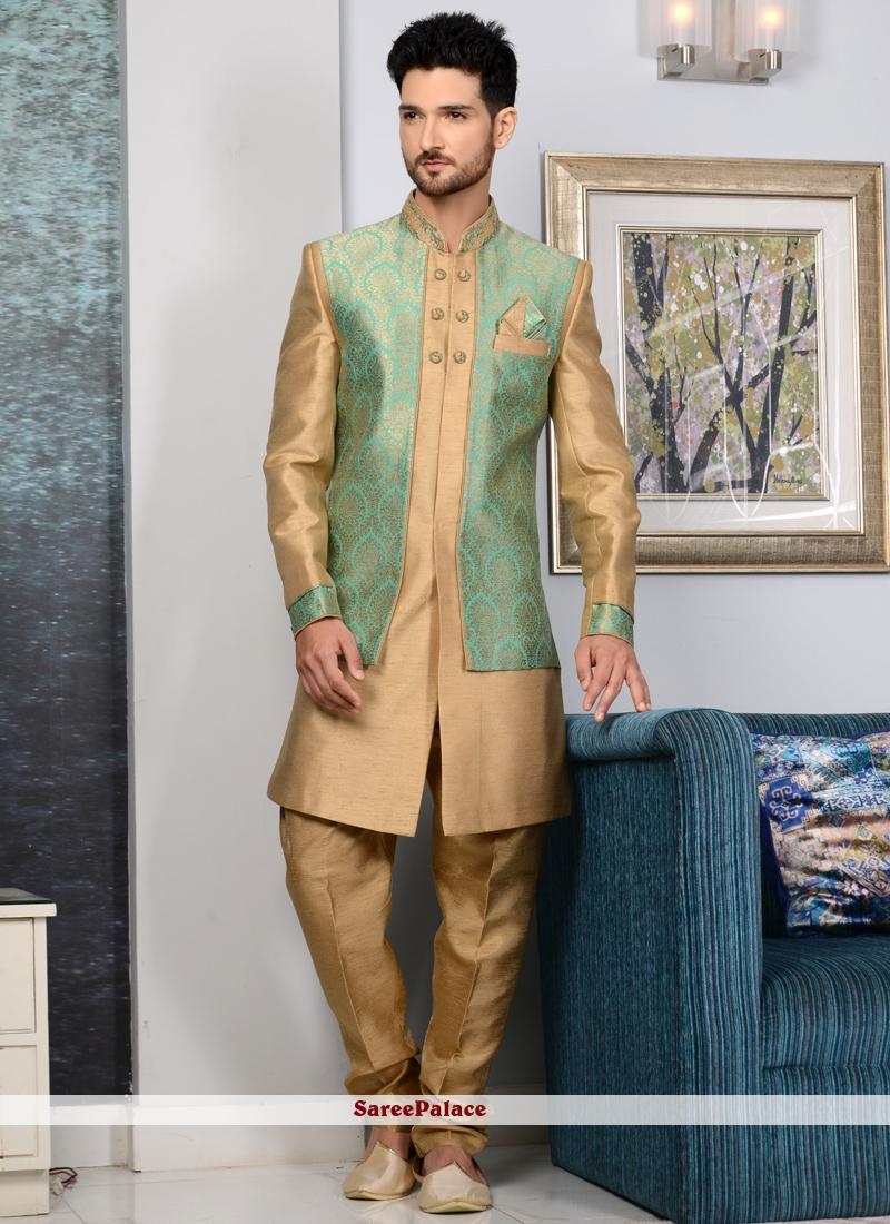 Embroidered Jacquard Silk Indo Western Sherwani in Beige and Sea Green