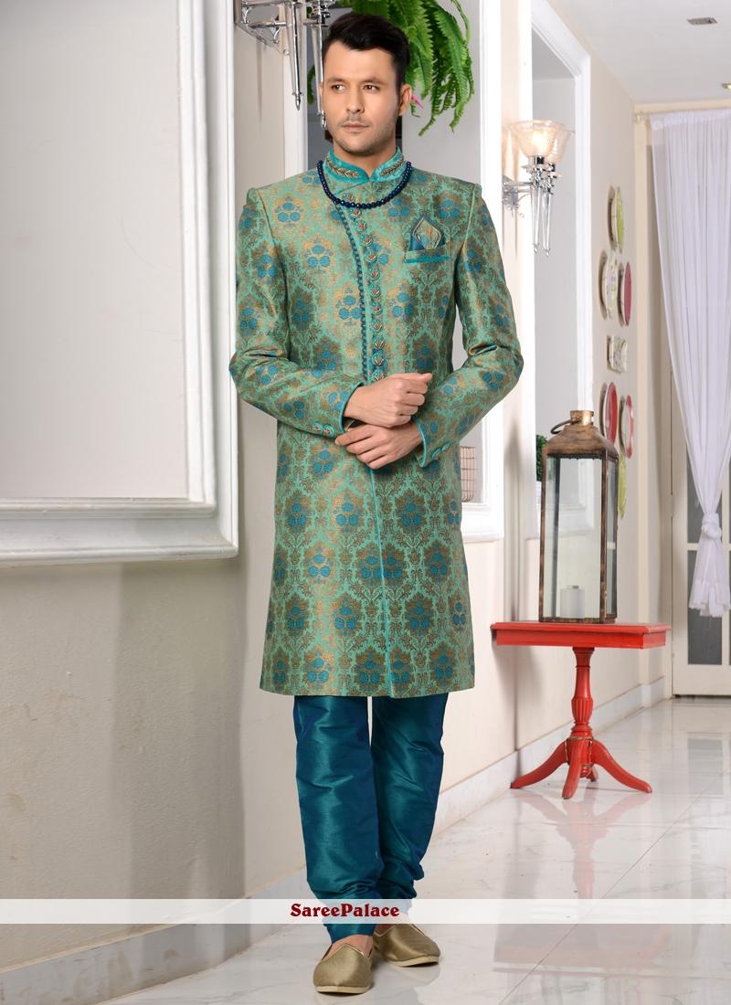 Embroidered Jacquard Silk Indo Western Sherwani in Sea Green