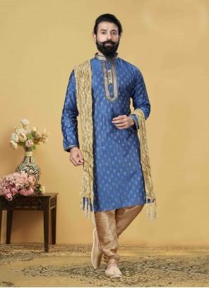 Embroidered Jacquard Silk Kurta Pyjama in Blue