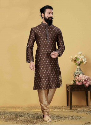 Embroidered Jacquard Silk Kurta Pyjama in Brown