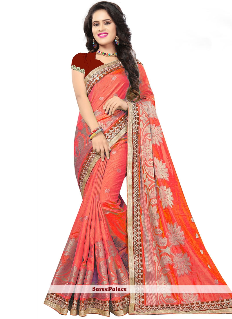 Embroidered Jacquard Silk Red Traditional Saree