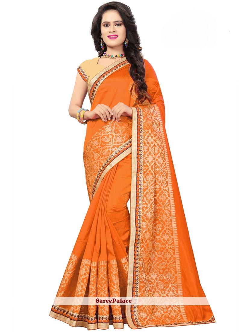 Orange Embroidered Jacquard Silk Traditional Designer Saree